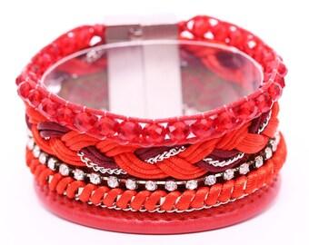 Red Brazilian Bracelet - Multi Layer Bracelet - Wrap Bracelet - Woman Bracelet - red Bracelet - Summer bracelet - Colorful Bracelet
