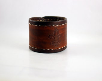 Large Fleur de Lis Leather Bracelet