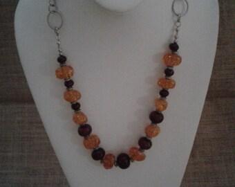Amber and Grape Quartz Necklace