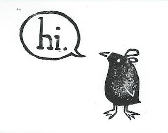 Hi. Speech Bubble Greeting Card - LeLe Bird