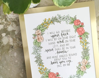 "8x10 ""I will go before your face"" print // LDS Print // Hand-drawn floral print // D&C 84:88"