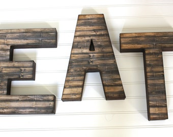EAT Sign - Distressed Letters - Yum Sign - Rustic Wooden Letters - Reclaimed Wood - Rustic Home Decor - Wood Letters - Kitchen Signs