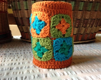 granny patch crochet stubby holder/drink holder/festival accessory