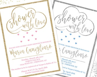 Baby Shower Invitation, Shower With Love Baby Shower Invitation, Glitter Baby Shower Invitation, Printable Baby Shower Invitation