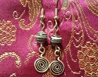 Black and White Swirls Earrings