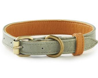 La Jolla Grey Leather Dog Collar