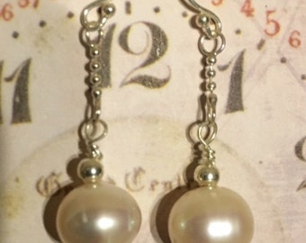 USA FREE SHIPPING-Single Fancy Pearl and Sterling Silver Earrings