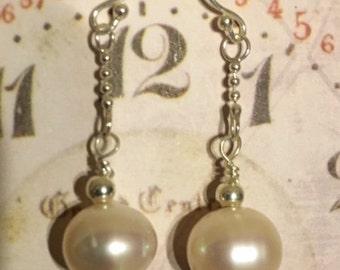 Single Fancy Pearl Sterling Silver Earrings