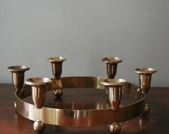Round Brass Six Candlestick Holder