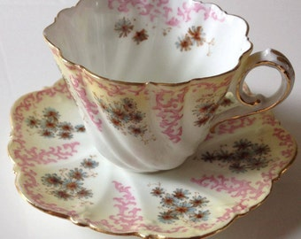 Antique Aynsley Cup and Saucer c1890 Gold Rim White and Pink with Blue and Orange Flowers England