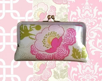Set of 2 Pink Themed Bridesmaid Clutches- Light Pink, Fuchsia, Damask, Floral or Links Print