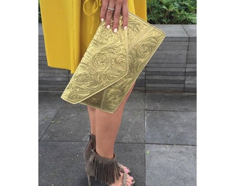 Hand Tooled Clutch/Mexican Clutch/Leather Clutch/Black Leather Clutch/Gold Leather Clutch/Tooled Leather Clutch/Evening Clutch/Hand Carved