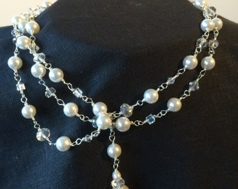 Freeform 925 sterling silver handmade chain with pearls and crystals wrap