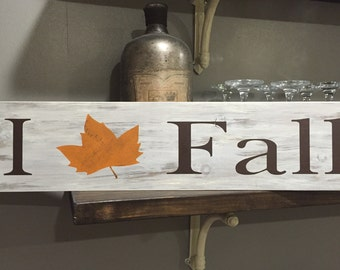 I love Fall/Fall/Rustic/Wooden Signs