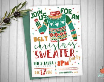 Printable Ugly Christmas Sweater Party Invitation • Customized Proof Within 24 Hours • Holiday Party Christmas Sweater Invitation
