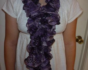 Hand crochet ruffle scarf