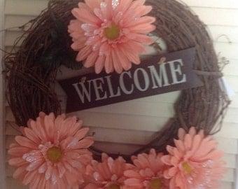 Grapevine Wreath, Welcome Wreath, Fall Wreath, Front Door Wreath, Out Door Wreathd