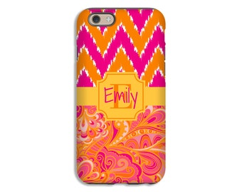 Zentangle iPhone case, boho iPhone X case,  iPhone 8 Plus case, ikat chevron iPhone 8 case, iPhone 7 Plus case, iPhone 7 case monogrammed