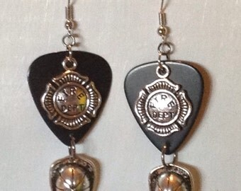 Fire Department Guitar Pick Earrings