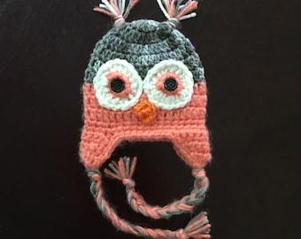 Crochet baby girl or boy owl hat