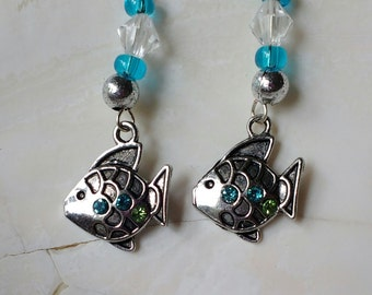 Blue and green fish earrings