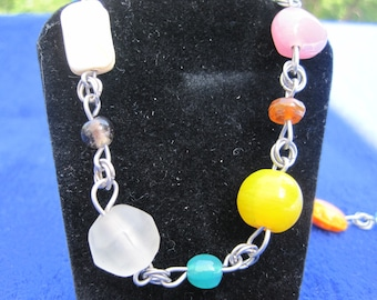 """20"""" Multi-colored Variable Sized Glass Bead Necklace"""