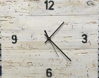 Reclaimed Bedrail Square Clock