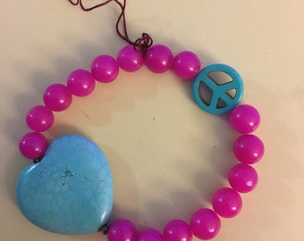 Large Heart Peace Sign Aqua/Pink Bead Bracelet