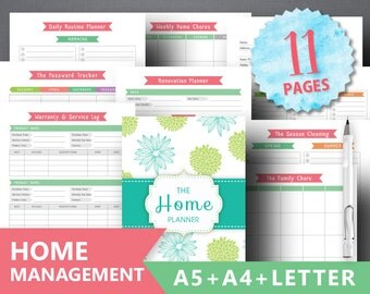 "Household Planner Printable: ""HOME MANAGEMENT"" Letter A4 A5 Homekeeping, Finance, Cleaning To Do Binder Mom Planner Home Chores, Renovation"