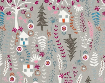 """Nursery Fabric: Forest Frolic Houses by Treasures 100% cotton Fabric by the yard 36""""x43"""" (K42)"""