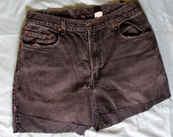 Vintage Washed-Out Black Shorts