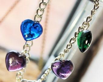 Coloured bracelet, Love heart bracelet, Acrylic hearts