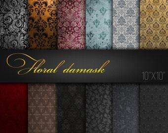 Damask Digital Paper / Damask Scrapbook Ornaments / Damask Patterns / Damask Textures / Pack of 12 JPG files / Printable Paper For Craft