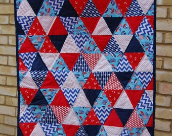 Nautical Baby Boy Patchwork Triangle Quilt and Bunting Set