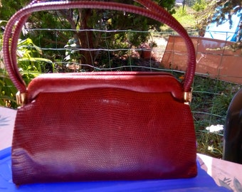 (lizard) leather bag bordeaux late 50s early 60 s.