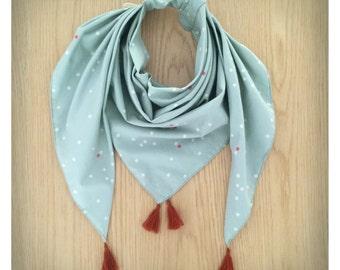 Children scarf / round neck celadon