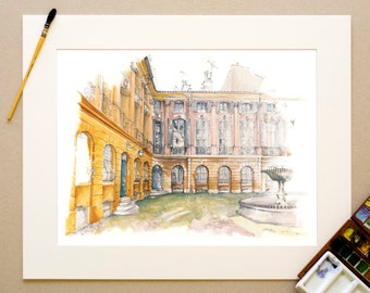 Watercolor Provence - Place d'Albertas, Aix-en-Provence, France - print signed and numbered, limited edition