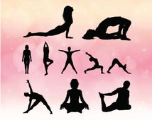 popular items for yoga pose silhouette on etsy