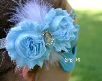 Frozen Inspired Chiffon Flower Headband - Kid Baby Costume Dress Up Birthday Party Favors - Elsa Anna - Blue Silver Feathers Disney Princess