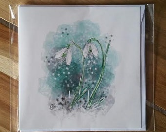 Greeting card - snowdrops