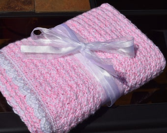 Handmade Pink and White Baby Blanket