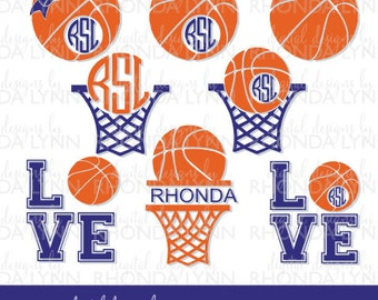 SALE! Basketball SVG, dxf, jpg, png Vector Cut File, Basketball Monogram, Basketball Love SVG, Basketball Hoop svg, Basketball Graphic