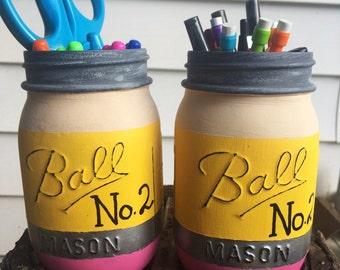 Pencil mason jar set of TWO