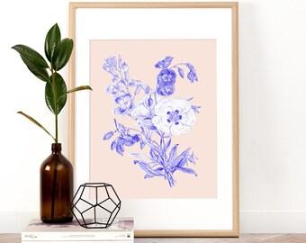 Botanical Art Print, Printable Wall Art, Wall Art, Digital Download, Screenprint, Vintage flower, Flower, Flower wall art, Floral art print