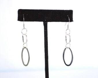 Silver toned chain earrings