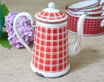 Vintage French Red & White Enamel Coffee Pot - BB Freres