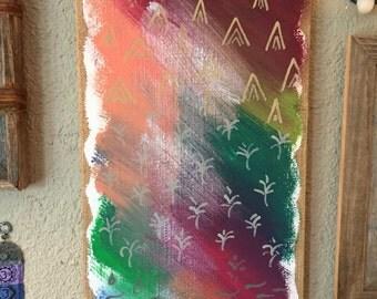 Painting an burlap/plaster canvas