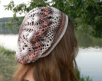 Summer slouchy beanie crochet hat woman Cotton Tam beach hat crochet beret colorful women's hat gift for mom mother's day gift