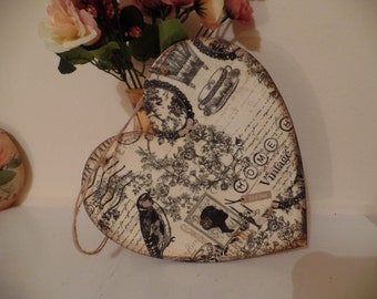 Shabby Chic  Heart. Hanging Decorations Handmade. 20cm/20cm Vintage Style