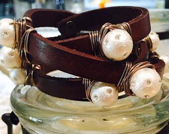 Leather Bracelet - Brown Leather, Multi Wrap.